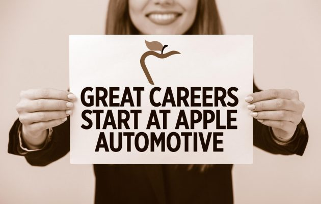 woman holding apple automotive careers paper sepia